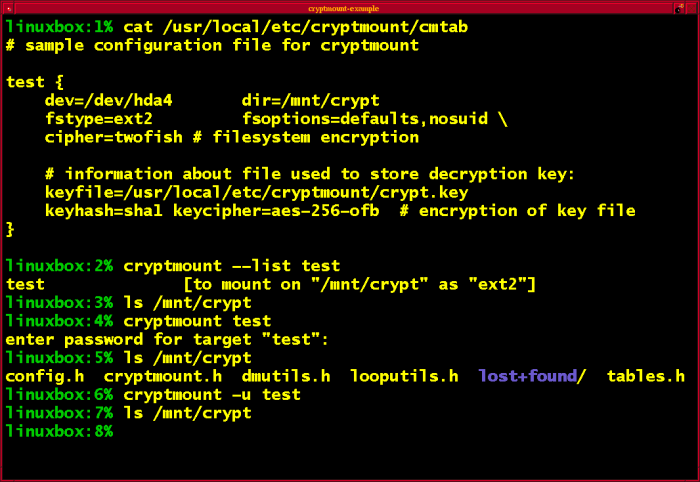 cryptmount command-line screenshot